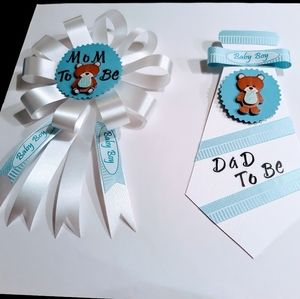 Teddy Bear Mom To Be Corsage/DaD To Be Tie